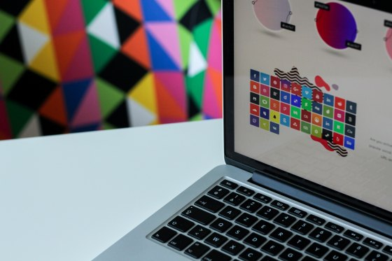 Silver laptop with colourful screen