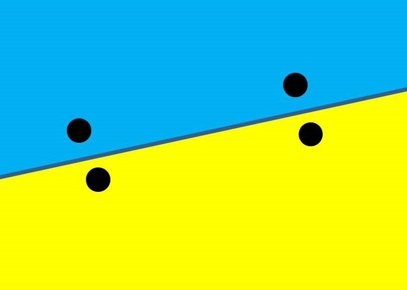 Abstract form of seesaw using blue and yellow