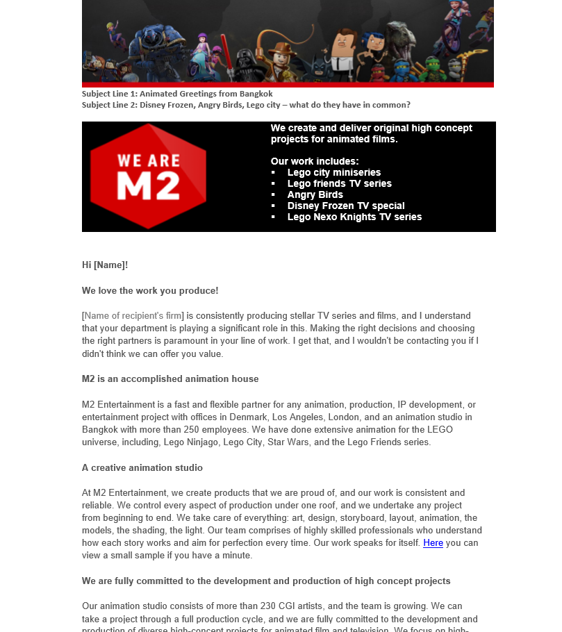 B2B Introduction email of animation company